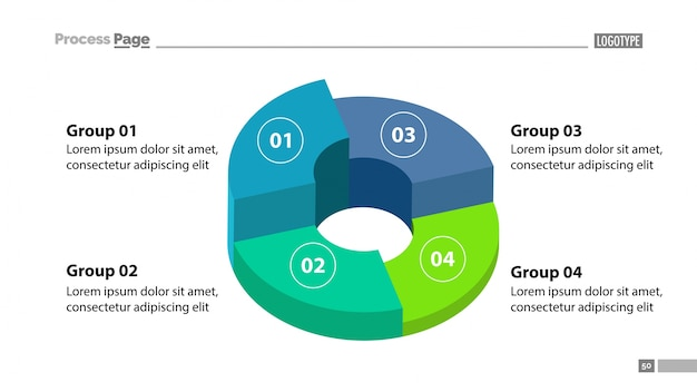 3d donut chart with four groups template Vector Free Download - donut template