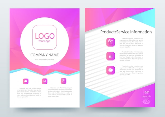 A4 Brochure Layout template with Magenta Polygon Vector Free Download