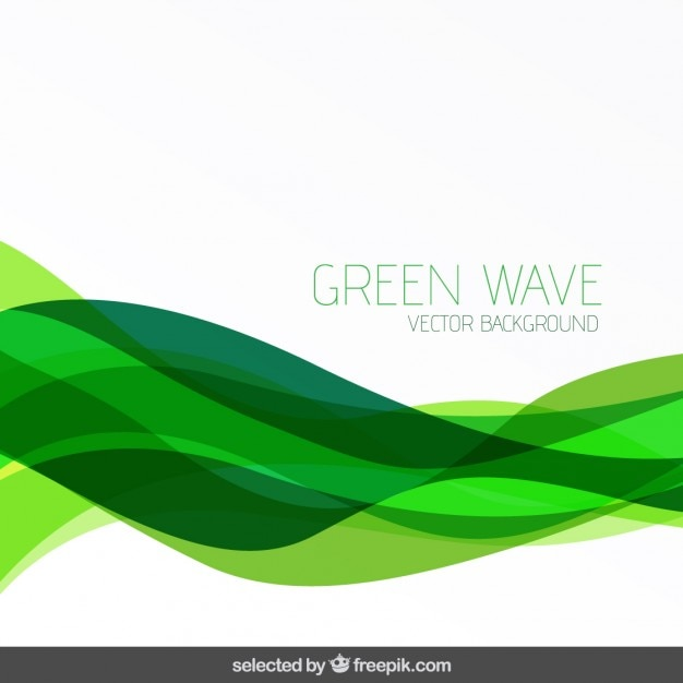Abstract background with green waves Vector Free Download