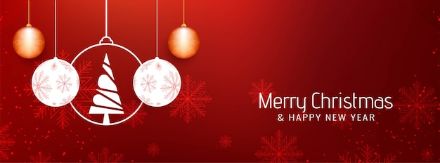 Abstract beautiful merry christmas banner template Vector Free