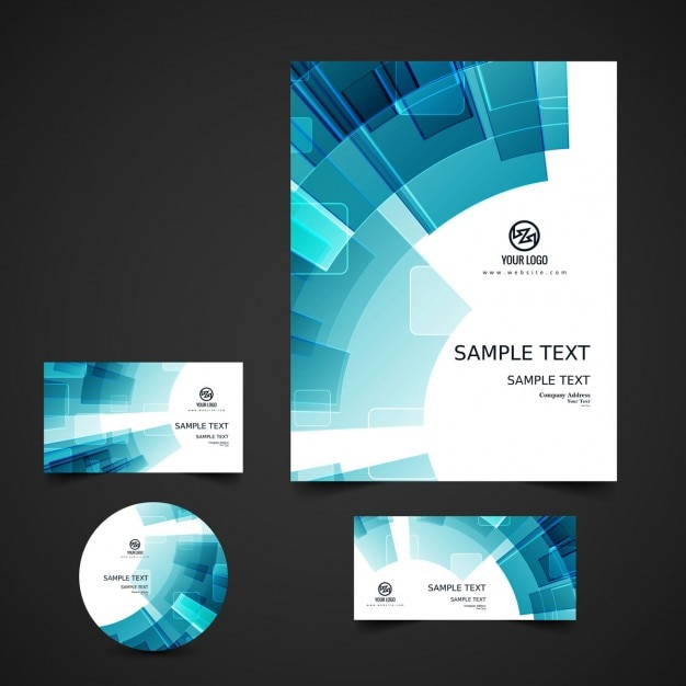 Abstract business stationery Vector Free Download - manual cover page template