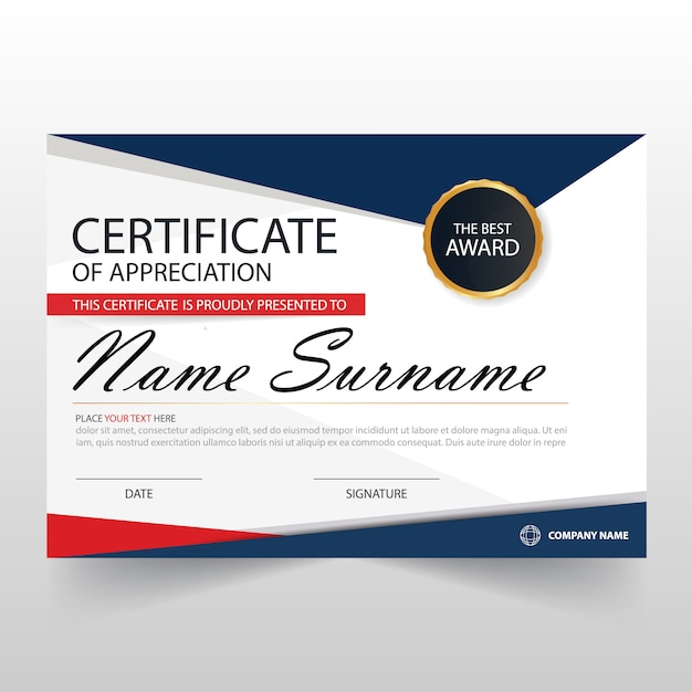 Abstract certificate of appreciation template Vector Free Download