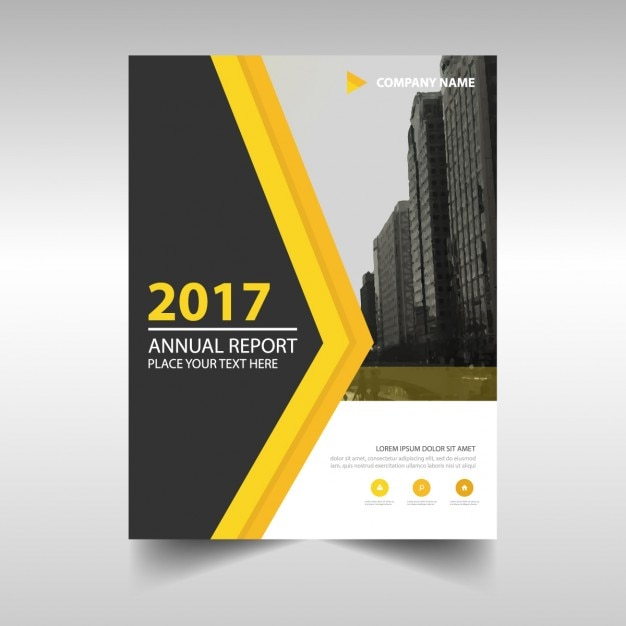 abstract cover of annual report 2017 with yellow detail Vector