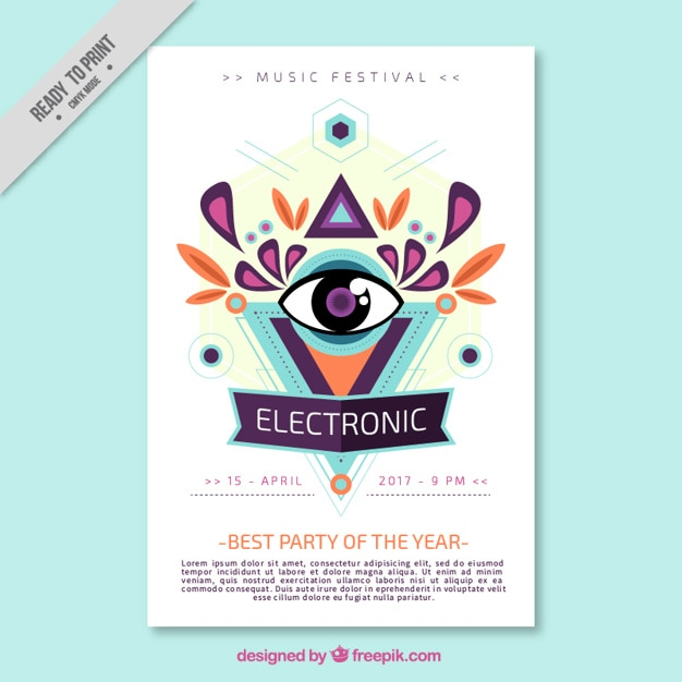 Abstract electronic music brochure Vector Free Download - music brochure