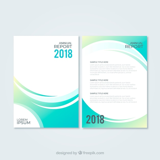 Abstract green annual report cover template Vector Free Download