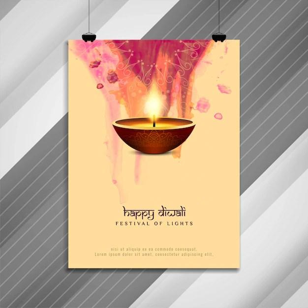 Abstract happy diwali religious brochure design Vector Premium