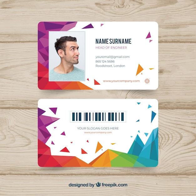 Abstract id card template with geometric style Vector Free Download