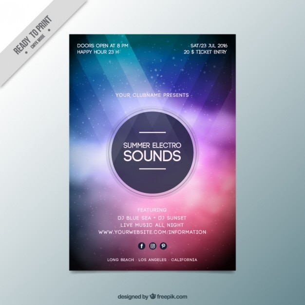 Abstract modern electro party flyer Vector Free Download - electro flyer