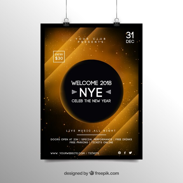 Abstract new year 2018 party flyer poster template in yellow Vector - new year poster template