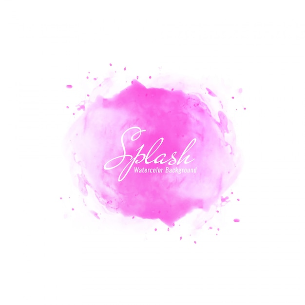 Abstract pink watercolor splash design background Vector Free Download