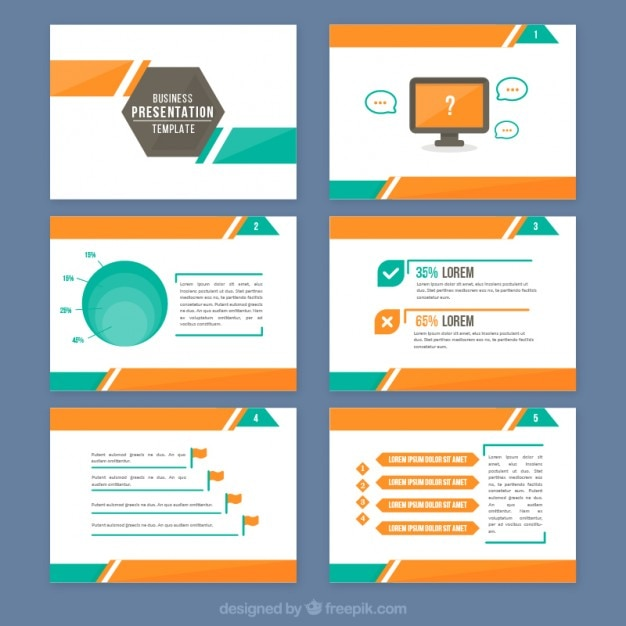 Abstract presentation with orange and green details Vector Free