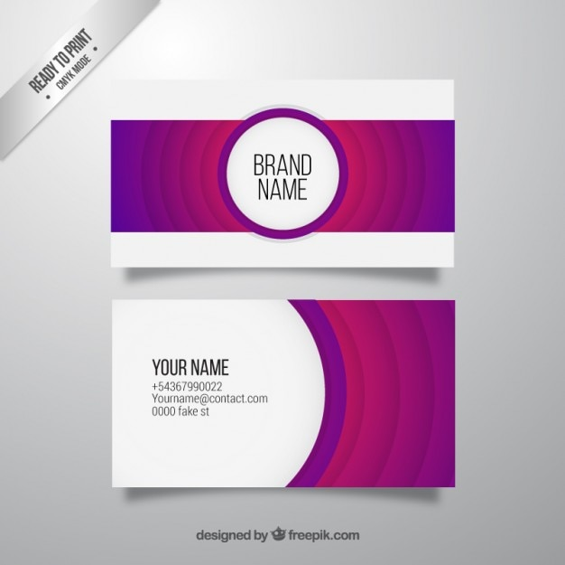 Abstract purple business card Vector Free Download