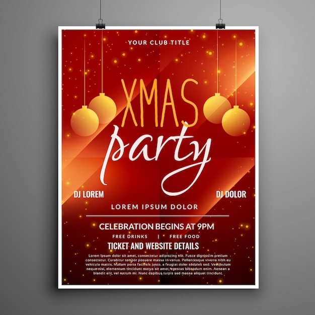 Abstract red christmas party event flyer design template Vector
