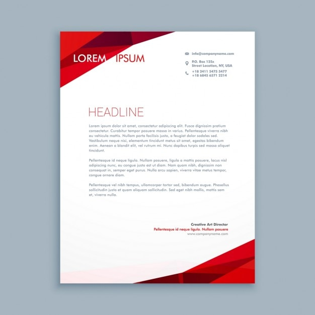 Abstract red letterhead Vector Free Download