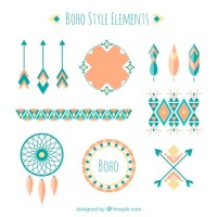 abstract shapes and boho elements in flat design Vector ...