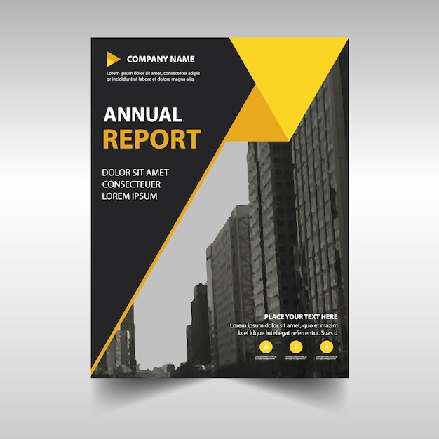 Abstract yellow professional annual report template Vector Free - professional report template