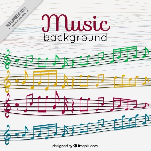 Ackground of staves and colored musical notes Vector Free Download