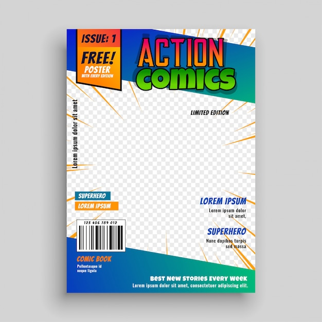 Action comic book cover page design Vector Free Download