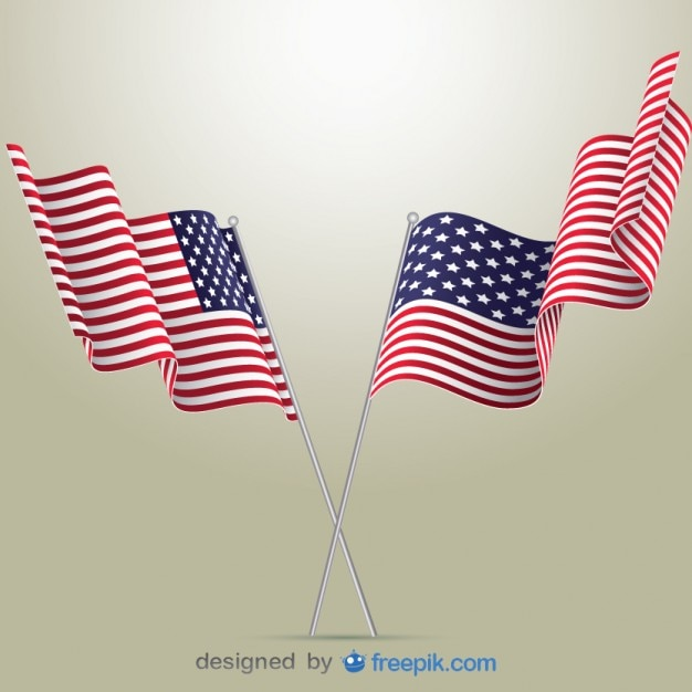 American Flags Vector Free Download