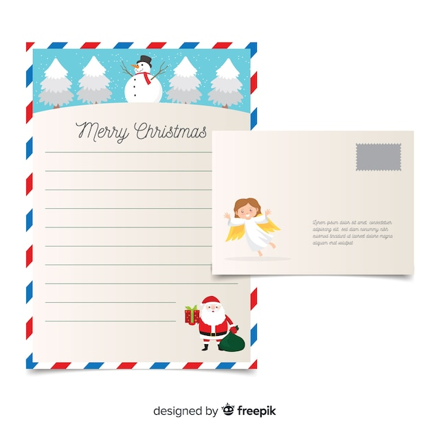 Angel christmas letter template Vector Free Download