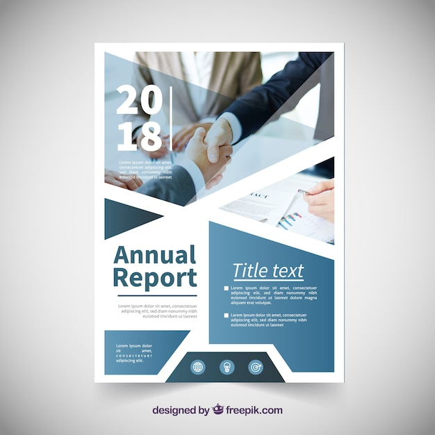 Annual report cover template with image Vector Free Download