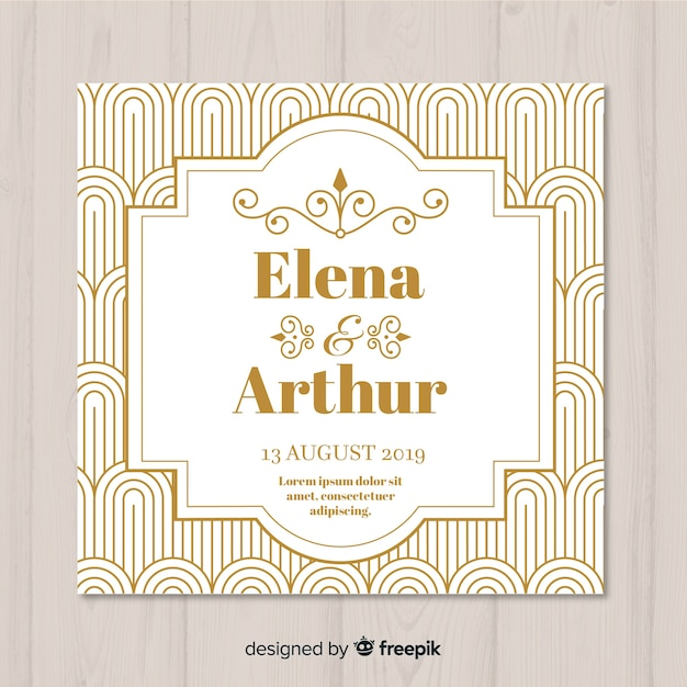 Art deco wedding invitation template Vector Free Download