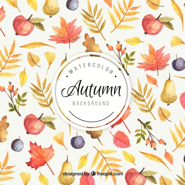Wallpaper Hello Fall Autumn Background Painted With Watercolors Vector Free