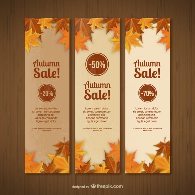 Autumn sales banner templates Vector Free Download