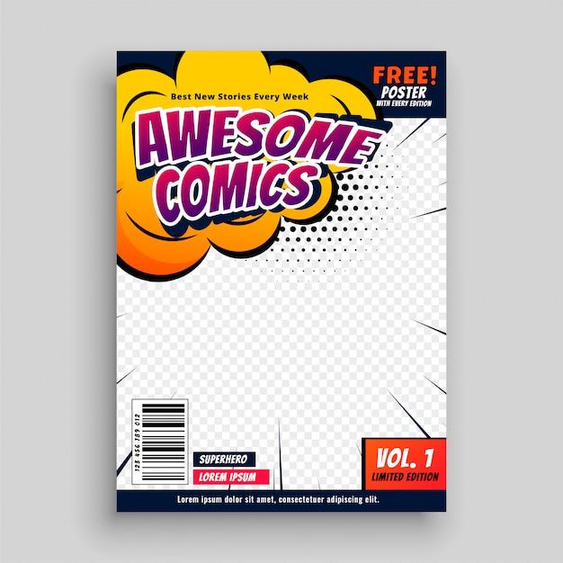 Awesome comic book cover page design template Vector Free Download