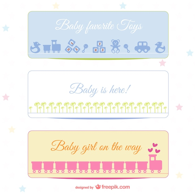 Baby banners set Vector Free Download