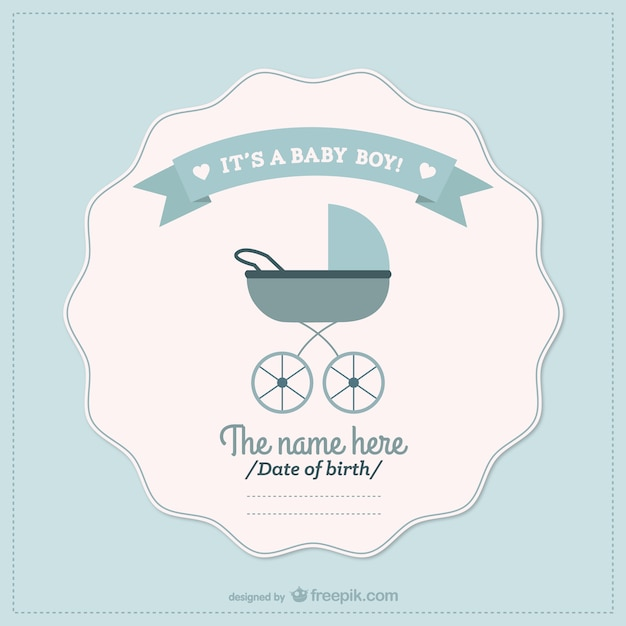 Baby boy announcement card Vector Free Download