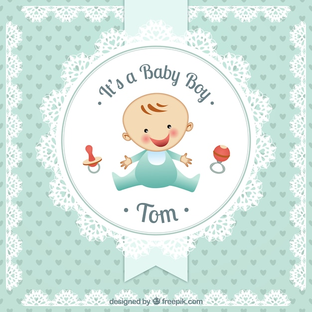 Baby boy card in doily style Vector Free Download