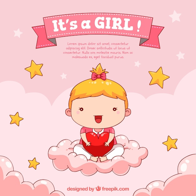 Cute Girly Wallpaper Quotes Baby Girl Background In Hand Drawn Style Vector Free