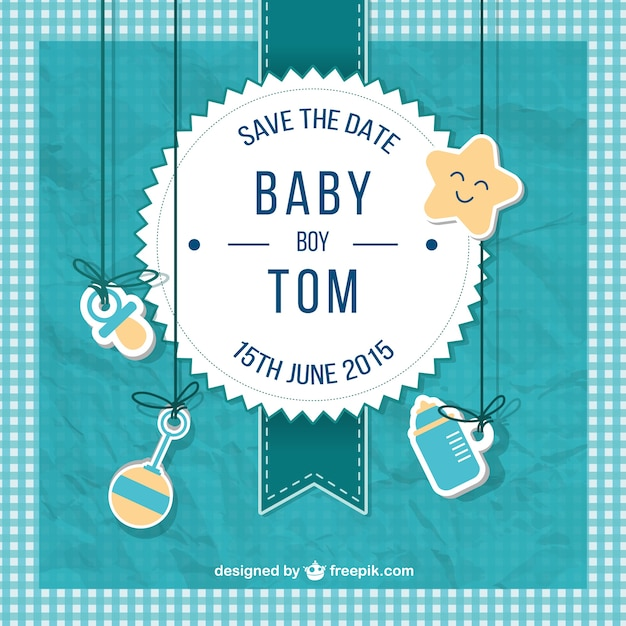 Baby shower card for boy in scrapbook style Vector Free Download