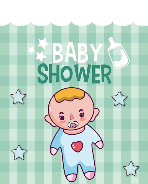 Baby shower cute card with cartoons Vector Premium Download