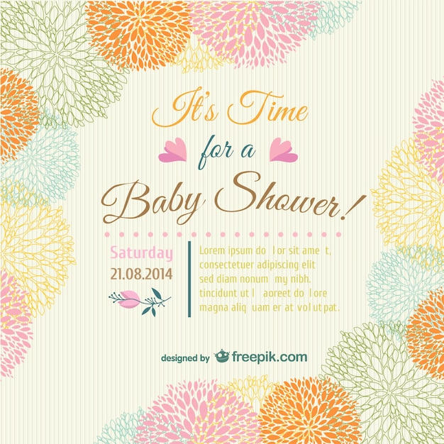 Baby shower floral invitation card Vector Free Download