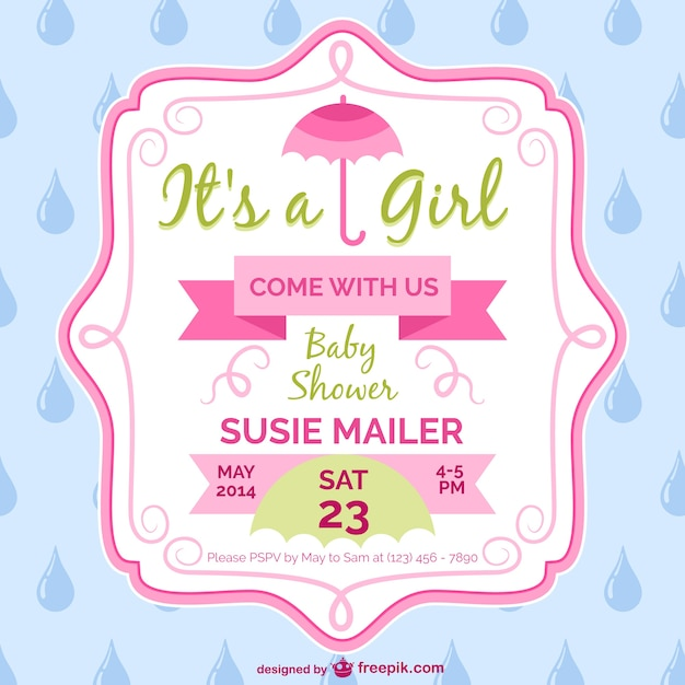 Baby shower girl card template design Vector Free Download - Free Baby Shower Label Templates