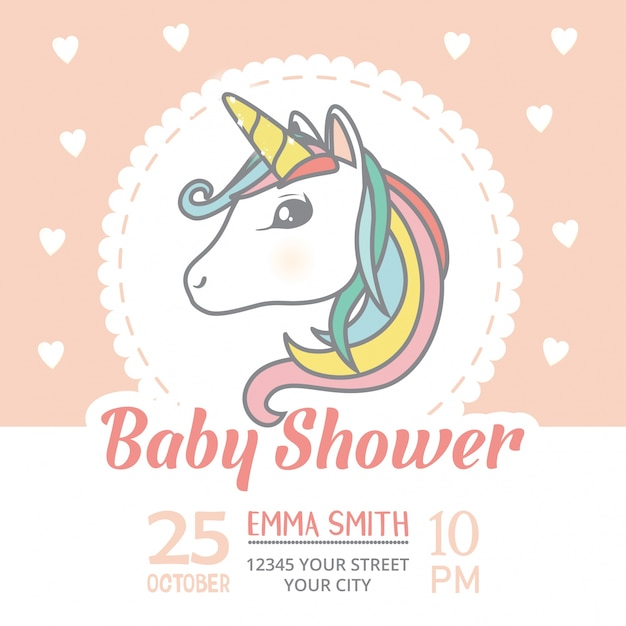 Baby shower invitation card template with cute unicorn character - unicorn template