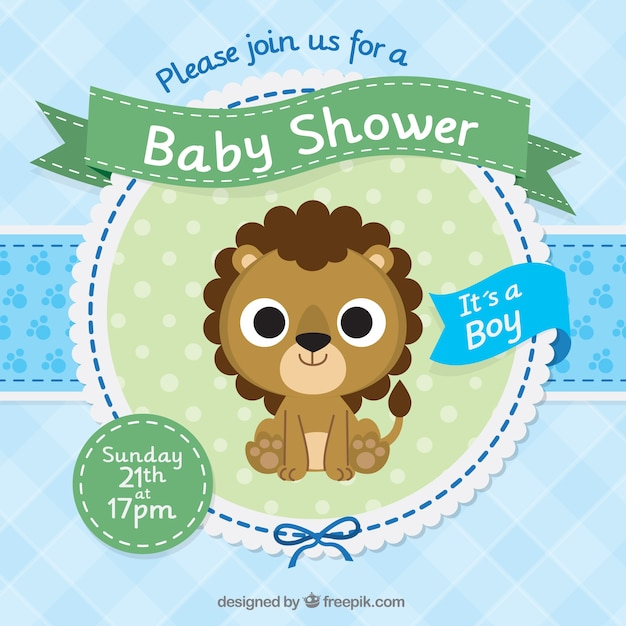 Baby shower invitation template with a cute lion Vector Free Download - baby shower invite templates