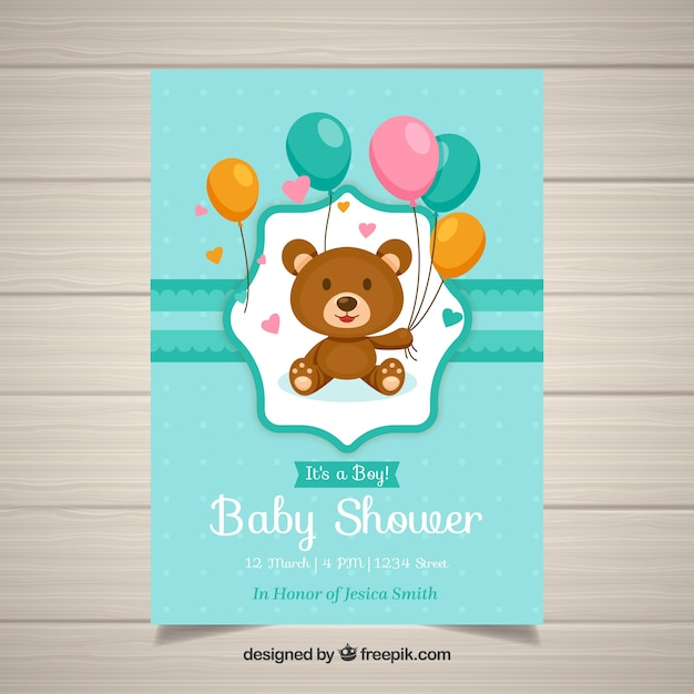 Baby shower invitation template with teddy Vector Free Download