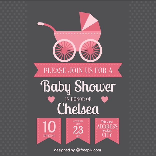Baby shower invitation with baby buggy Vector Free Download