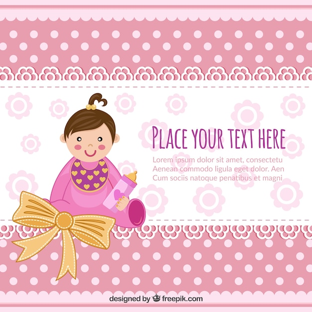 Baby shower invitation with baby girl Vector Free Download - baby shower flyer template free