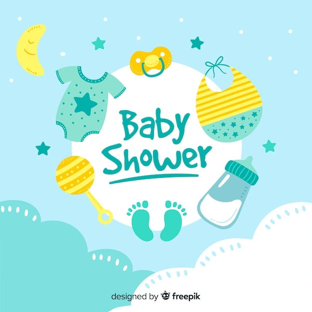 Baby shower template for boy Vector Free Download