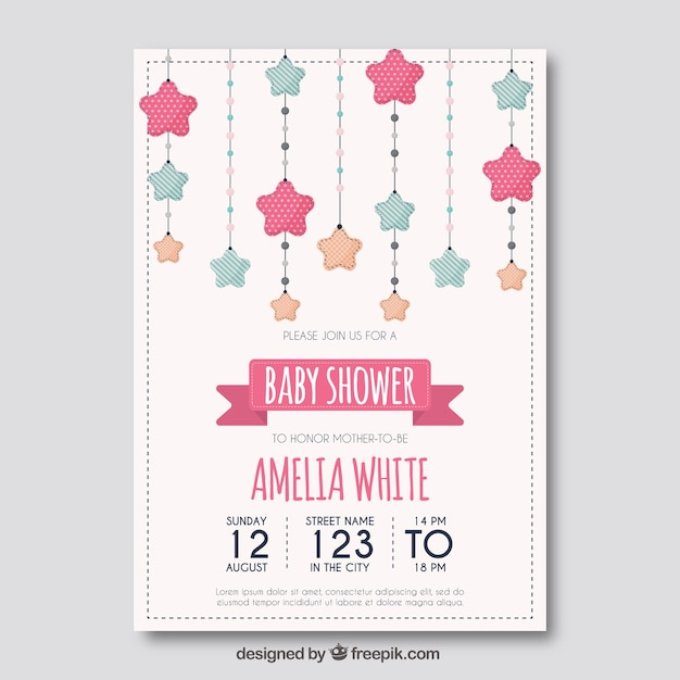Baby shower template with stars Vector Free Download