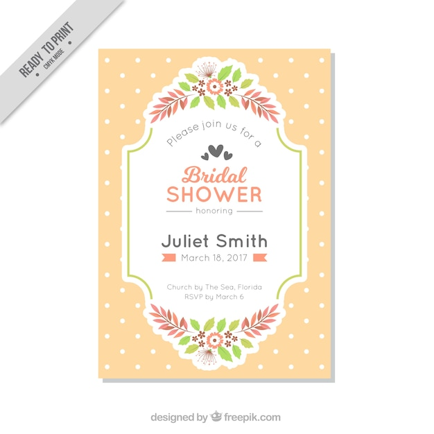 Bachelorette invitation template with polka dots and flowers Vector