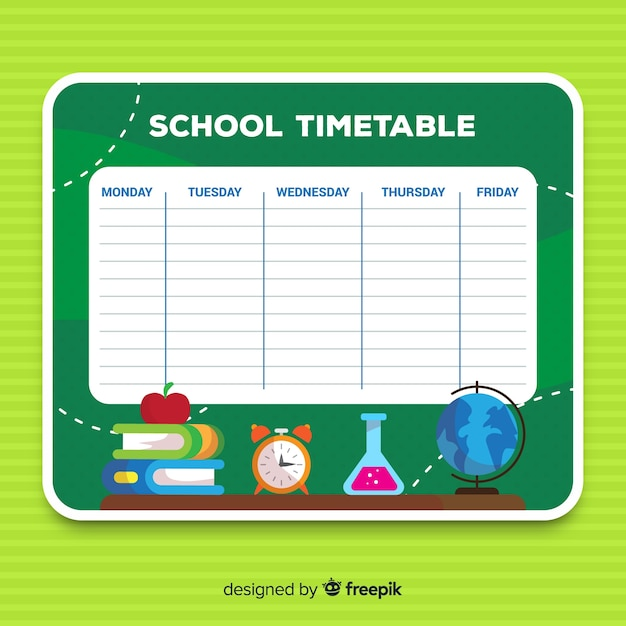 Back to school timetable template Vector Free Download