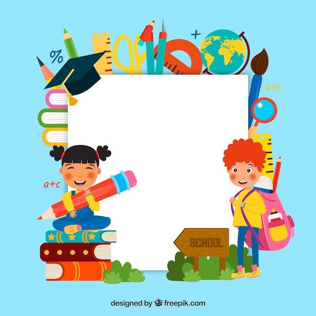 Back to school background with kids Vector Free Download