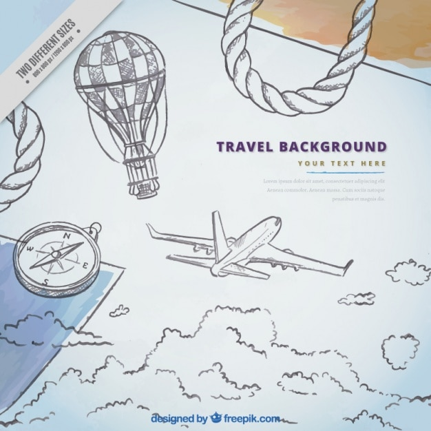 Background of airplane sketches and travel elements Vector Free - background sketches