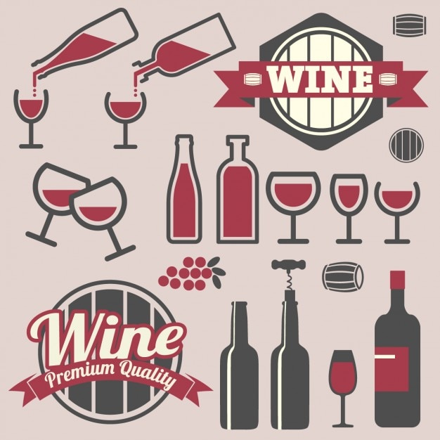 Badges and icons wine design Vector Free Download - free wine label design