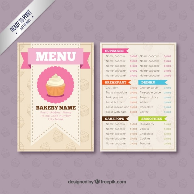 Sample Bakery Menu Template Bakery Menu Template Premium Vector - sample chalkboard menu template